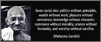 gandhi zeven maatschappelijke zonden