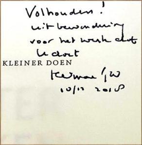 Signering boek Groter denken, kleiner doen door Tjeenk Willink