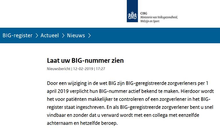 Nieuwe regel ministerie VWS: BIG-nummers verplicht door geregistreerde zorgverleners