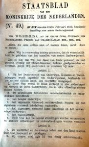 Staatsblad oprichting Onderwijsraad 1919