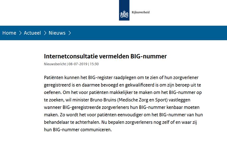 internetconsultatie rond aangepast voorstel verplicht vermelden BIG-nummer