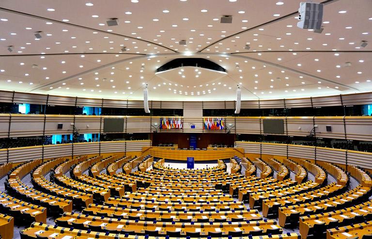Interieur van het Europarlement Brussel
