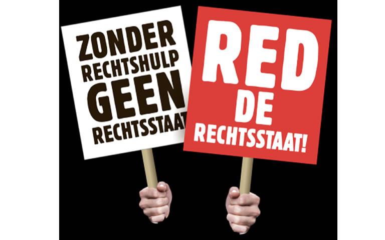 actie_icoon van sociaal advocaten: Zonder rechtshulp geen rechtsspraak, en Red de rechtsstaat!