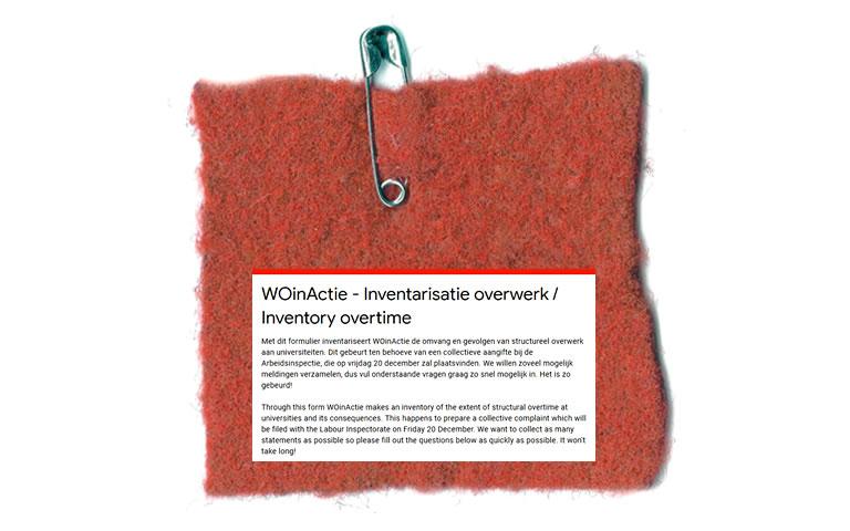 Symbool van WO in Actie rood vierkant