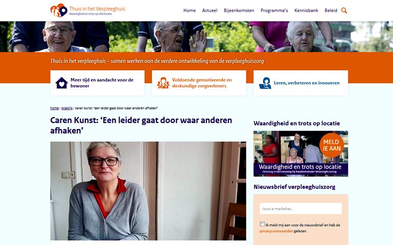 Interview met Caren Kunst op site Waardigheid en trots over leiderschap en verpleegkunde