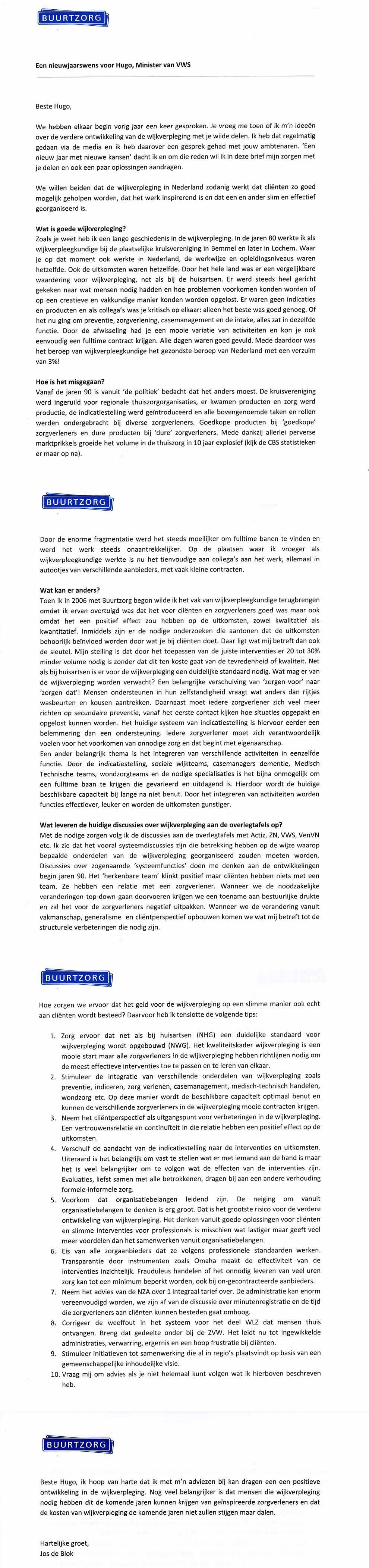 Brief met nieuwjaarswens 2020 aan minister VWS van Jos de Blok