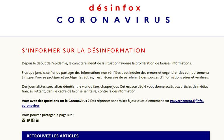 AFbeelding van Franse overheidssite met info over desinformatie coronavirus